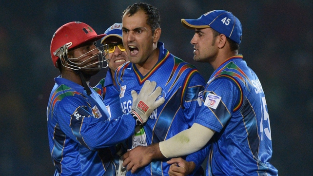 Mohammad Nabi celebrates taking a wicket