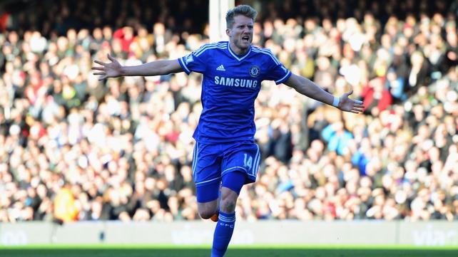 Andre Schurrle celebrates scoring Chelsea's opening goal