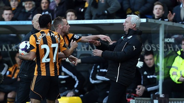 David Meyler reacts following an altercation with Newcastle manager Alan Pardew