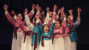 South Korean children perform during the 95th Independence Movement Day ceremony at Sejong Art Cente