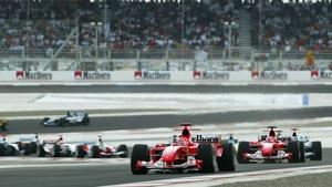 Michael Schumacher driving for Ferrari in 2004