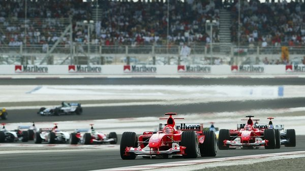 Michael Schumacher in the inaugural Bahrain race in 2004, a race the German won