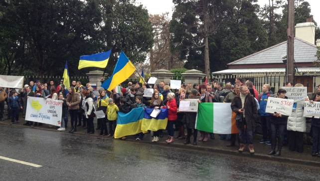 The Association of Ukrainians in the Republic of Ireland organised a demonstration at the Russian Embassy in Dublin