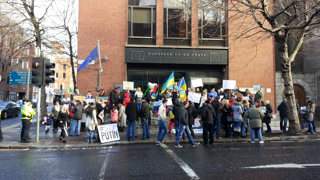 Irish-based Ukrainians protest outside European Union House in Dublin