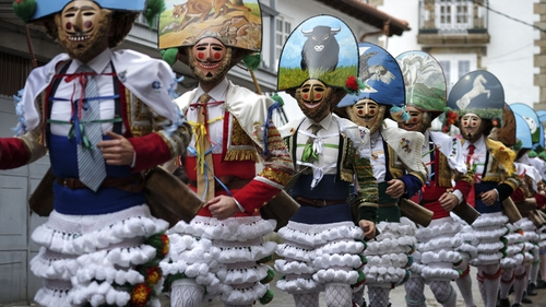 The 'Peliqueiros' or hairdressers take part in the 'Entroido' carnival festival in Laza, near Ourense, northwestern Spain