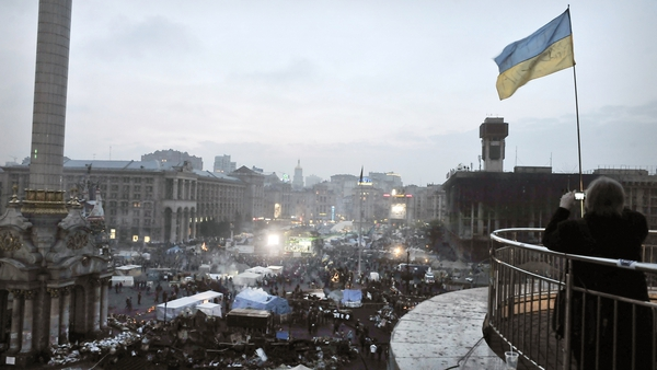Protesters again rallied in Kiev's Independence Square yesterday