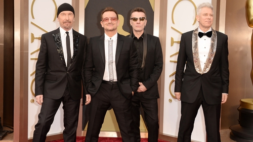 U2 at last night's Oscars