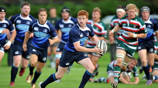 Cathal Marsh in action for the Leinster U20s against Leicester Academy in 2010