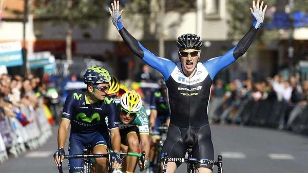Sam Bennett pictured winning his first  race as pro rider at the Clasica de Almeria in Spain in March