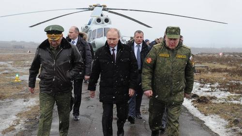 Vladimir Putin arrives at the Kirillovsky military testing ground