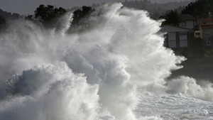 Big waves at Valdovino's coast, A Coruna, northwestern Spain (Pic: EPA)