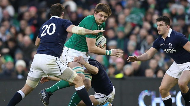 Iain Henderson in action against Scotland in the first round of this year's Six Nations championship