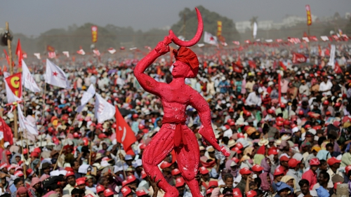 Communist Party of India activists rally in Kolkata ahead of the election announcement (Pic: EPA)