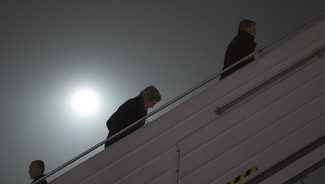 US Secretary of State John Kerry pictured leaving Kiev to travel to Paris for a meeting with Russian Foreign Minister Sergei Lavrov
