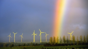 A rainbow above windmills in Lisbourg, France