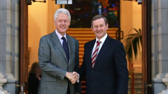 The former US president visited Taoiseach Enda Kenny at Government Buildings yesterday