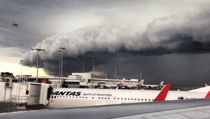Monique Mulligan captured major storm clouds above Sydney airport