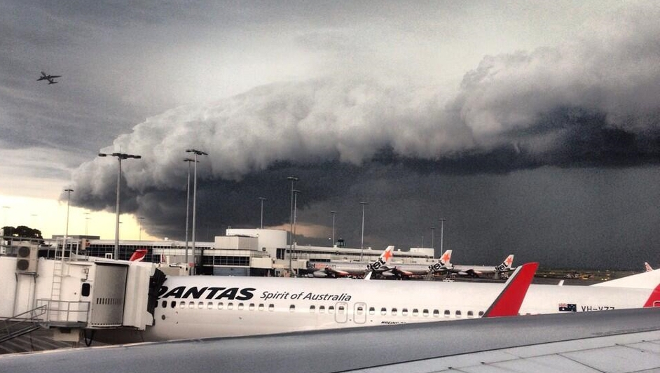 Monique Mulligan captured major storm clouds above Sydney airport