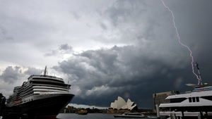 Lightning strikes over Sydney Harbour