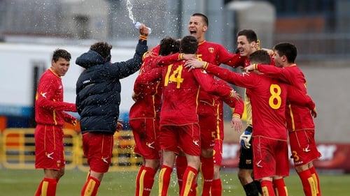 Montenegro celebrate their late win in Tallaght