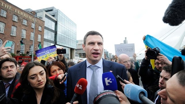 Former world boxing champion Vitaly Klitschko is among the Ukrainian delegation attending the conference