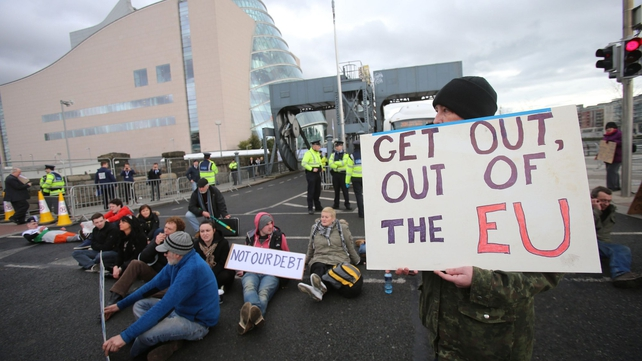 Protesters demonstrating outside the EPP conference in Dublin