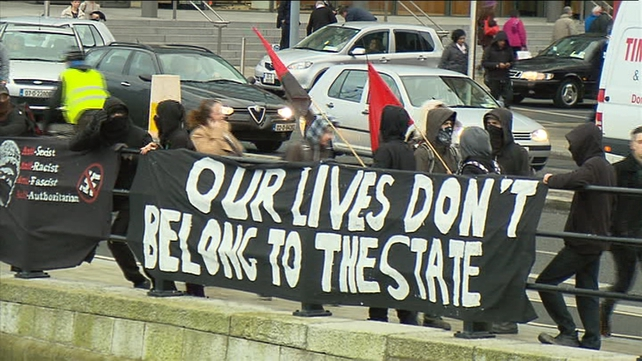 Anti-austerity protesters have been demonstrating outside the Convention Centre