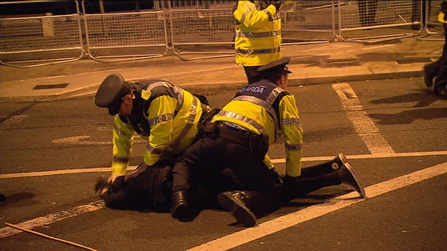 Two people have been arrested at the protest