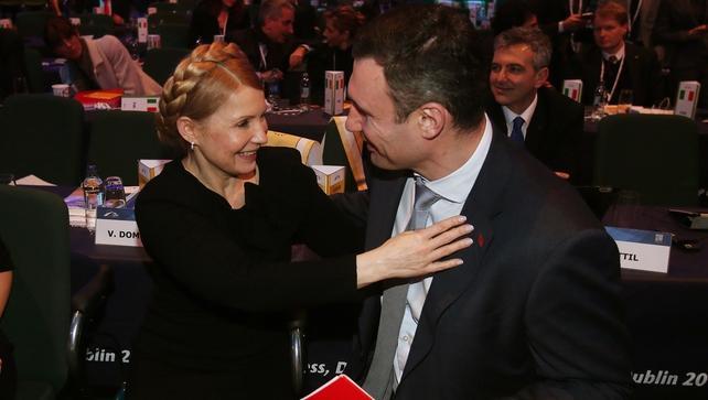 Former Ukrainian Prime Minister Yulia Tymoshenko greets Vitali Klitschko at the EPP Congress earlier this evening