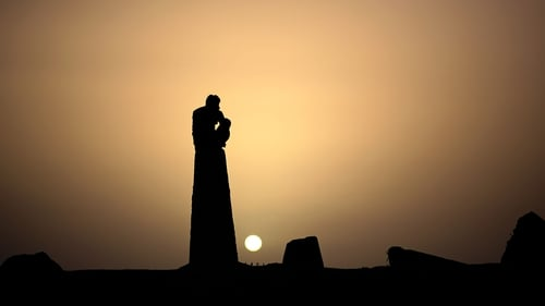 A man watches the sun set in Gaza (Pic: EPA)
