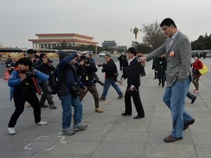 NBA basketball legend Yao Ming, who is a delegate for Shanghai, leaves the Great Hall of the People after a session of the Chinese People's Political Consultative Conference (CPPCC) in Beijing