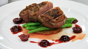 Duck with Sour Cherry Sauce and Potato Rosti