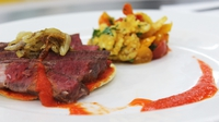 Seared ribeye of beef with red pepper tomatillo puree and sweetcorn tomato saute - Bill Gunter's key ingredient recipe from Heat 2 of MasterChef 2014
