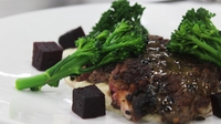 Pan fried rib eye of beef with celeriac + horseradish puree, salt baked beetroot + tenderstem broccoli - Mark McGrath's key ingredient recipe from Heat 2 of MasterChef 2014