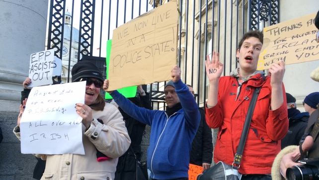 Anti-austerity protesters gathered outside Government Buildings
