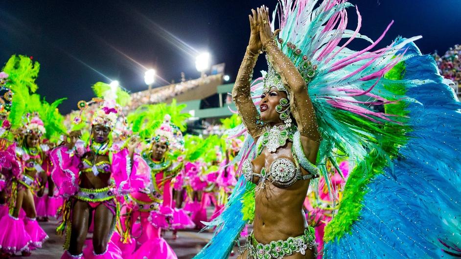 Members of Mangueira Samba School take part in Rio de Janeiro's famous Carnival