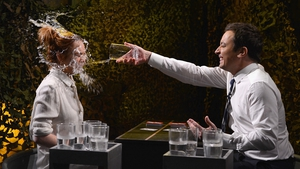 Actress Lindsay Lohan and host Jimmy Fallon play a game of 'Water War' during  an episode of The Tonight Show