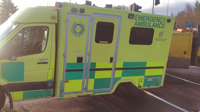 A rear wheel fell off the ambulance as it was returning to Dundalk (Pic: Ciara Wilkinson)
