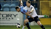 Drogheda's Declan O'Brien with Stephen O'Donnell of Dundalk