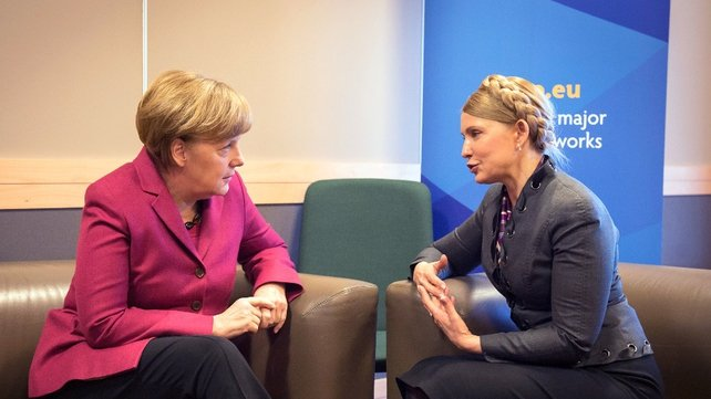 German Chancellor Angela Merkel and Ukrainian opposition Yulia Tymoshenko speaking in Dublin (Pic: EPA)
