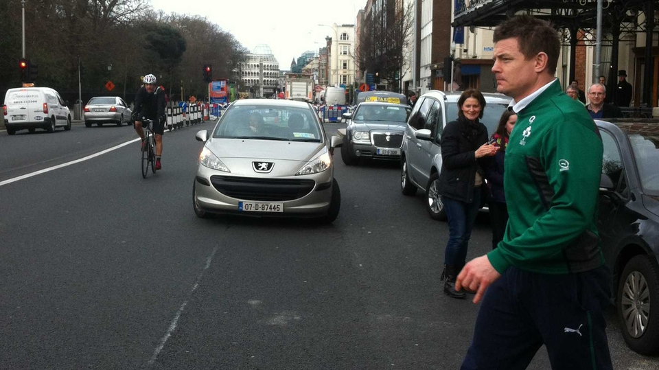 The man of the moment, Brian O'Driscoll, leaves the team hotel before the game