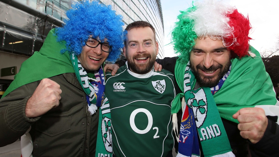 Brothers in arms - Irish and Italian fans in good spirits at Lansdowne Road