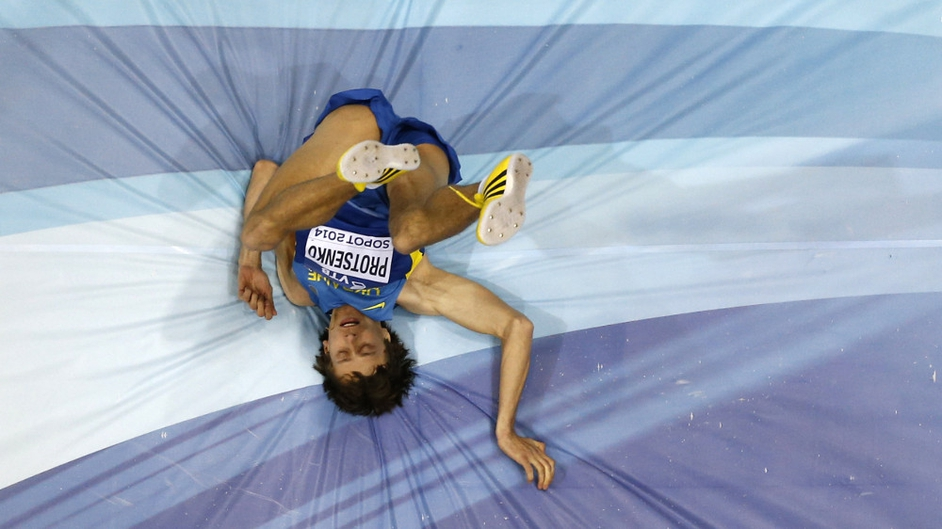 Ukraine's Andriy Protsenko competes in men high jump qualification group A at the IAAF World Indoor Athletics Championships