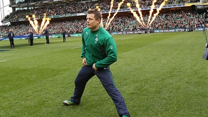 Brian O'Driscoll led the team out to a  packed stadium