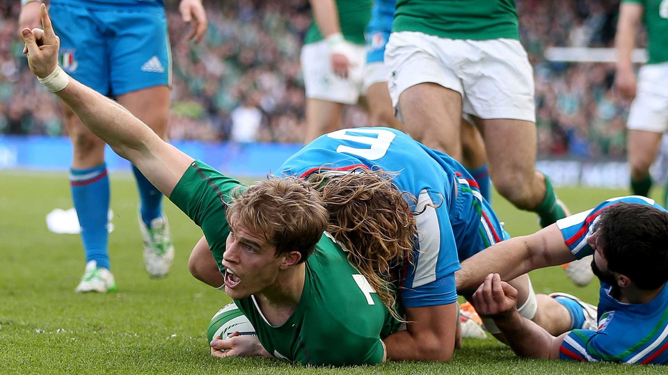 Andrew Trimble touched down just before half-time after a majestic pass from Brian O'Driscoll