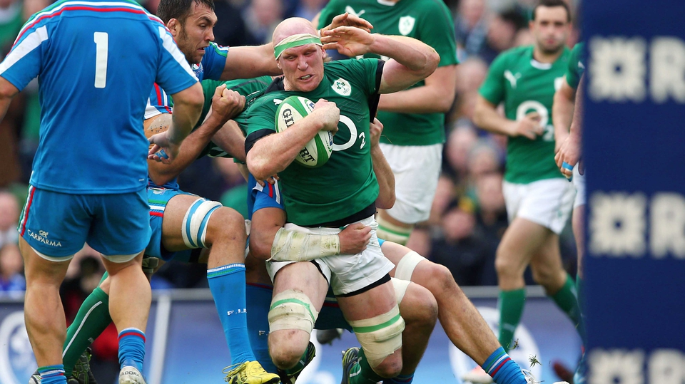 Paul O'Connell carries for Ireland under fierce Italian pressure