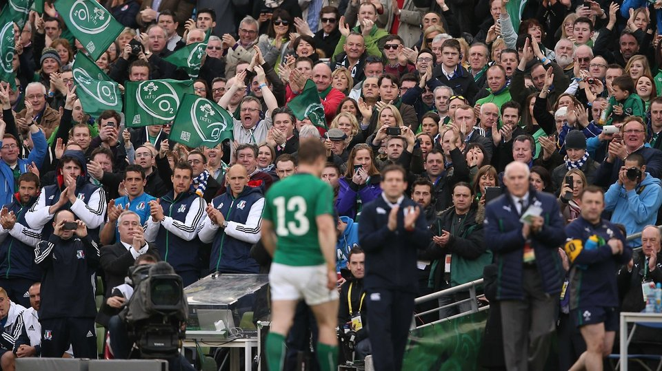 Brian O'Driscoll, who set up three tries, left to a standing ovation with just under 20 minutes to play