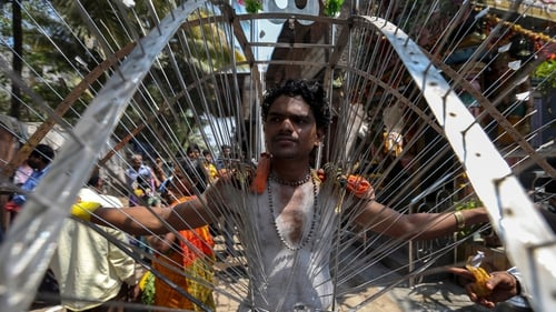 A devotee of the Tamil community who has his body pierced with metal spears takes part in a religious procession during the Muthu Mariamman Puja festival in Mumbai, India (Pic: EPA)