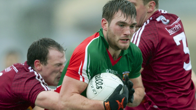 Mayo's Aidan O'Shea breaks free from his Westmeath markers