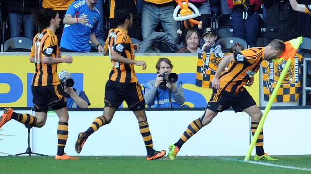 David Meyler celebrated his goal by headbutting the corner flag
